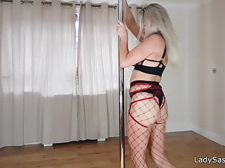 blond Pole MILF English - fishnets Saskia Lady in dance