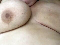 Showing my BBW Goddess' curves, huge tits, nipples, labia, clit
