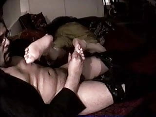 Mature foot sniffing...