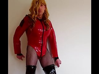 RED LATEX BODYSUIT & BLACK HOOKER BOOTS - Suleika Latex Porn