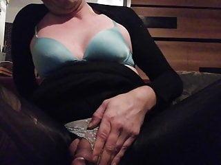 Top tittied tranny vibrator pantyhose play...
