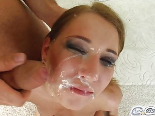 Mel gets four dicks down her throat and a cream facial