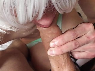 Sissy femboy pushes my cum to the end