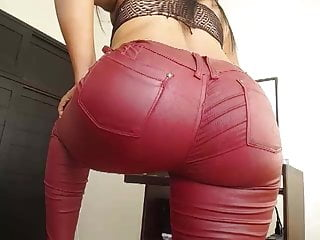 red with Dance pants leather