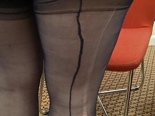 my wifes lovely nylon legs and feet 9