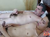 Raw barebacking with older daddy and cute Asian twink