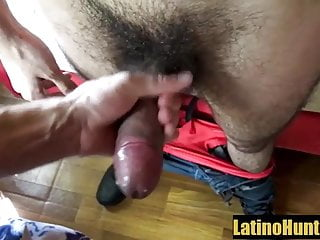 Straight hairy Latino suck his first uncut cock