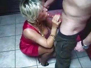 Mature sucks cock at christmas party...