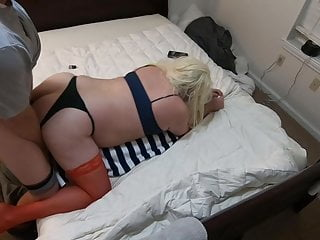Anon White Str8 Uses Sub Blonde Sissy CD in Red Stockings