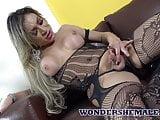 Sexy latina shemale in lingerie masturbates