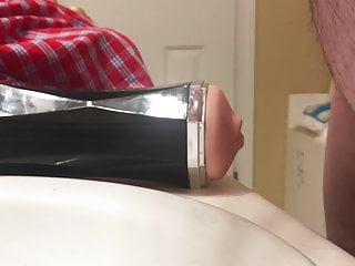 Fucking the flesh toy in the bathroom with a big finish