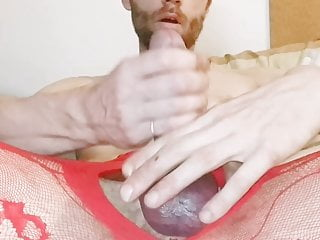 Masturbation of my cock in red nylon stockings!!!