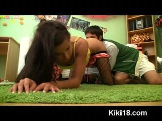 Hot teen Kiki fucked by her pal for a homemade sex tape