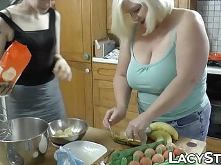 Blonde Big Tits Big Ass video: Big tits GILF sensually fucks younger chick in the kitchen