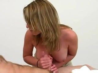 Hot Blonde Teen Gives Amazing Massage Handjob Cumshot