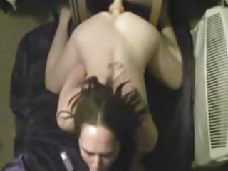 Dildos herself while sucking clip