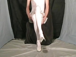 Fanny cd wearing white lingerie and matching stockings