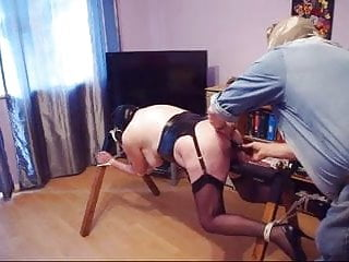 Redslave tied to horse , butt plugged and caned
