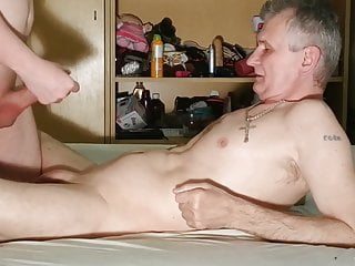 Mouthfucking blowjob with stepdaddy in 69 for money