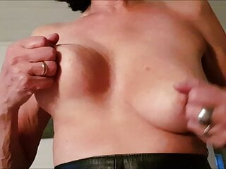 Gina, playing with my tits.