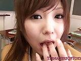 Japanese teen schoolgirl blowing bfs cock