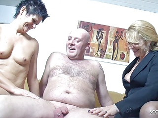 old german wife suprise husband with saggy tits threesomePorn Videos