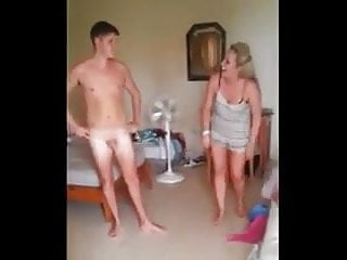 Funny Nudist Humiliation video: CFNM Guy with Small Penis Filmed by two Girls