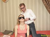 Amateur tricked while blindfolded