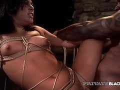 PrivateBlack - Tied Up Ashley Blue Takes Her Master's BBC!