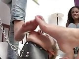 threesome mistress use lesbian feet slave pt 2