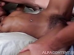 Black Bombshell Gets Stuffed By 2 Milky Dudes