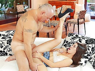 DADDY4K. Aroused babe let BF's handsome dad stretch her...