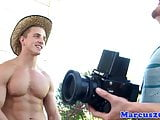 Ripped model cums with hunky photographer