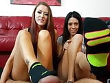 Alexis And Amber's Dirty Humiliating Stinky Sock Footjob