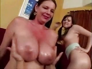 Squeezing Mother-In-Law's Oily Tits