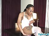 Inked ebony tgirl with round ass jacking solo