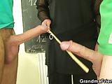 Granny teacher double penetration