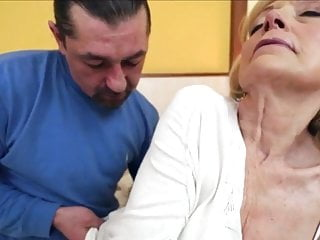 Old bald granny fucked and he cums on her gaping cunt