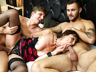 Horny gets her holes stuffed by two cocks...