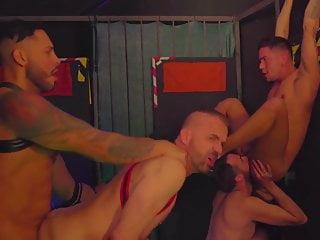 Hot men group bareback