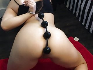 Gaping Brunette Homemade video: Big Anal Beads