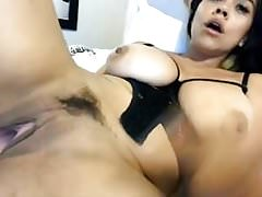 Busty latina masturbating her hot pussy and squirting on cam