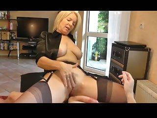 Pretty blonde milf works husbands penis
