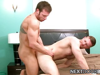 Bedroom raw blowjobs followed by anal with two hairy hunks