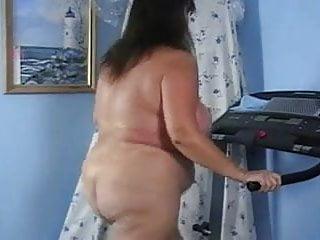 Naked big ass treadmill workout...