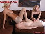 Two blonde Femdom slave humble strap-on face sitting