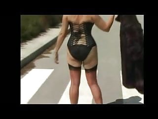 Corset and Nylons Outdoors