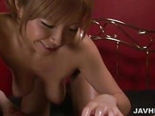 Sumire Matsu oils up her big tits and titty fucks her man