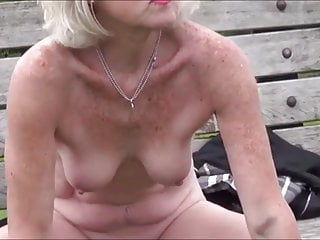 public Hot the masturbating skinny on bench naked milf
