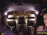Public british babe cocksucking cop in car